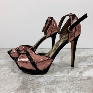 Sam Edelman Paisley Heels Rose Gold Sequin Pumps